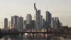 Frankfurt Skyline Sunset Stock Footage