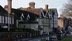 Typical English street: traditional architecture Stock Footage