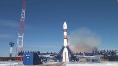 """Start space rocket Russian """"Progress"""" Stock Footage"""