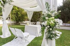 Wedding decoration in the garden. Stock Photos