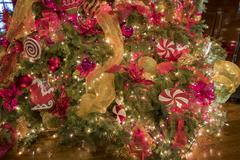 Beautiful Christmas lights inside of Mission inn Stock Photos