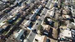 Aerial view of an area with many buildings, roads and vehicles COLORADO Stock Footage