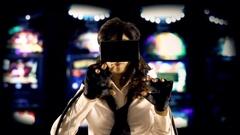 Virtual girl mu slot machines videopoker front view Stock Footage