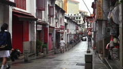 Macao - October 2016: People walking in Historic Centre of Macao. 4K resolution Stock Footage