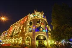 Exterior of the Historical Mission Inn during twilight Stock Photos