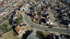 Overhead shot of a small suburban town COLORADO Stock Footage
