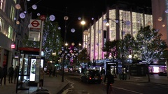 Night View of Oxford Street with Christmas Illuminations in Central London Stock Footage