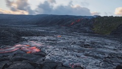 A river of molten lava of a volcano (time-lapse) Stock Footage