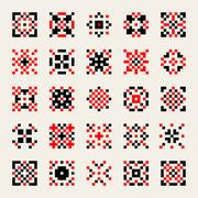 Set of Twenty Five Vector Black Red White Ukrainian Traditional Cross-Stitch Stock Illustration