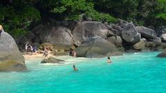 Tourist on the Similan Island Stock Footage