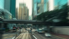 HONG KONG - City centre tram ride with motion blur. 4K resolution time lapse. Stock Footage