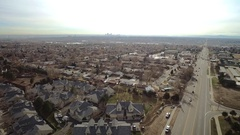 An aerial view of an middle class suburb on a partly sunny day COLORADO Arkistovideo