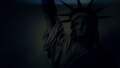 Statue Of Liberty Crumbling Under A Lightning Storm Stock Footage