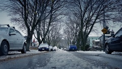 Moving Over Icy Road In Residential Area Stock Footage