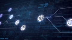 Globe Internet Icon Line Connection of Circuit Board Loop Animation 4K Stock Footage