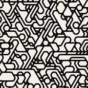 Vector Seamless Black And White Futuristic Techno Alien Pattern Stock Illustration