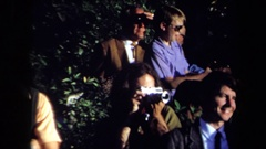 1971: men in suits outdoor posing happy around trees SACRAMENTO CALIFORNIA Stock Footage