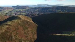Aerial view of Church Stretton. Stock Footage