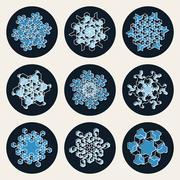 Set of Nine Vector Line Art Stroke Offset Geometric Blue Snowflake Shape Design Stock Illustration