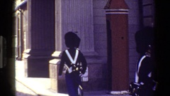 1983: number of people standing outside the building wearing same uniform Stock Footage
