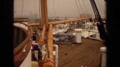 1971: celebration in front of boat before cruise launch LONG BEACH CALIFORNIA Stock Footage