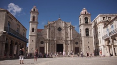 Monument And Landmark Cathedral Square In Havana Cuba Cuban Travel Stock Footage
