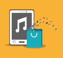 Mobile music smartphone bag gift note yellow background Stock Illustration