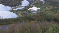 """The """"Eden"""" - a botanical garden in Cornwall. (drone footage) Stock Footage"""