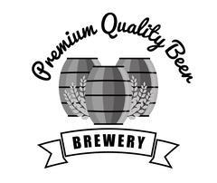 Brewery premium quality beer barrels wooden vintage Stock Illustration