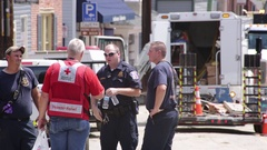 Emergency services at a disaster site. Flood damage. Stock Footage