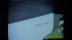 "1970: circular contraption of containers and hoses is near box stating ""docking Stock Footage"
