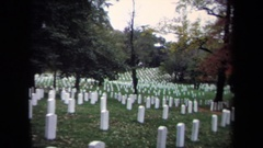 1970: white gravestones sit upright marking graves of the deceased WASHINGTON DC Stock Footage