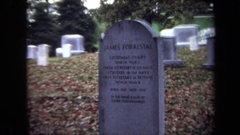 1970: tombstone of a military man and high american official named james Stock Footage