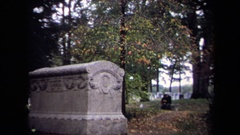 1970: a large gray ornate headstone that reads lincoln Stock Footage
