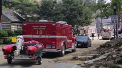 Emergency services at a disaster site. Water rescue. Flood damage. Stock Footage