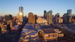 4k aerial drone footage of the city of Denver Colorado at sunset Stock Footage