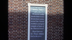 1970: sign: cornell street; clip of a block with buildings WASHINGTON DC Stock Footage