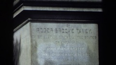 1970: a roger brooke taney statue, showing it in front of a historical building Stock Footage