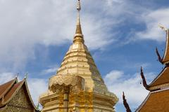 Golden pagoda at Wat Phra That Doi Suthep, Chiang Mai, Popular historical t.. Stock Photos