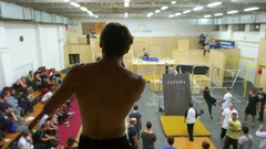 Permited Overview of Indoor Parkour Event Stock Footage