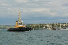 Raid tug RB-412 in the Bay of Black Sea Stock Photos