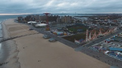 Drone footage of NYC's Coney Island on a stormy dat - 4k Arkistovideo