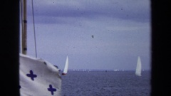 1970: white flag with five blue crosses waves from ship  Stock Footage