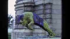 1970: a beautiful statue of a bull ready to launch an attack on the matador Stock Footage