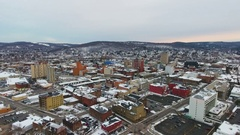 Binghamton, New York aerial shot during the winter in 4k Stock Footage