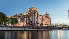 Berlin Reichstag and Spree river Hyperlapse Stock Footage