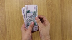 Hands are counted the money, rubles Stock Footage
