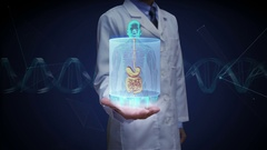 Doctor open palm, Human body scanning internal organs, Digestion system. Stock Footage