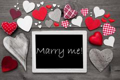 Chalkbord With Many Red Hearts, Marry Me Stock Photos