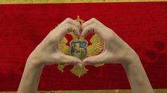 Hands Heart Symbol Montenegro Flag Stock Photos